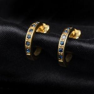 Genuine Natural Sapphire Half Hoop Earrings Avon